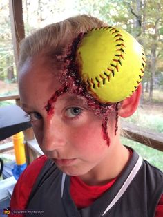 Stephanie: My daughter Saiylor is a dedicated 10 year old travel softball player. Her team (Lady Crushers are definately in favor of girls wearing facemasks on the field for protection. (cool costumes for 10 year olds) Boys Scary Halloween Costumes, Teen Boy Costumes, Halloween Costume Contest, Halloween Costumes For Girls, Halloween Kostüm, Costume Ideas, Costumes 9 Year Old Boy, Zombie Costumes, Game Costumes