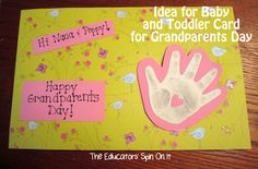"""The Educators' Spin On It: Handprint Card for Grandparents Day.  """"Blowing Kisses for Grandparents Day"""""""