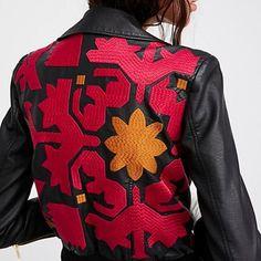 Free People Vegan Leather Jacket on Mercari Leather Embroidery, Diy Fashion, Womens Fashion, Vegan Leather Jacket, Dressed To Kill, Free People, Bomber Jacket, Men Sweater, Outfits