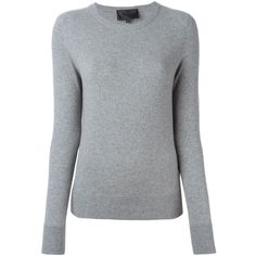 Philipp Plein Rubino Sweater (1,105 CAD) ❤ liked on Polyvore featuring tops, sweaters, grey, philipp plein, grey long sleeve sweater, long sleeve tops, gray sweater and grey top