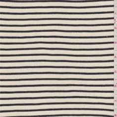Cream and blackhorizontal pinstripe with a faint sheen. A lightweight rayon and polyester knit fabric with widthwise stretch.Compare to $10.00/yd