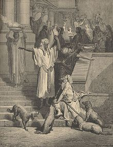 Gustave Dore, Lazarus and the Rich Man, from The Dore Gallery of Bible Illustrations, 1891 Gustave Dore, Harry Clarke, William Blake, Fine Art Prints, Framed Prints, Canvas Prints, Parables Of Jesus, Saint Gregory, Gospel Of Luke