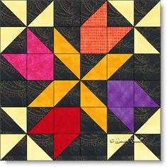 Four Winds quilt block pattern - a study in half square triangles