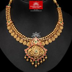 Traditional gold necklaces for women from the house of Kameswari. Shop for antique gold necklace, exquisite diamond necklace and more! Gold Wedding Jewelry, Gold Jewelry, Diamond Jewellery, Jewelry Art, Bridal Jewelry, Ruby Necklace Designs, Jewellery Designs, Necklace Online, Simple Necklace