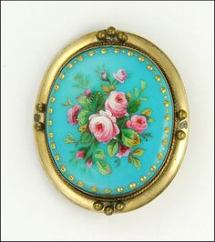 Victorian painted enamel posy of roses pinchbeck pin