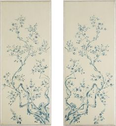 Add a sense of enchantment to the room with this wood wall panel, hand-painted with a soft blue cherry blossom and branch motif over a cream background with a silver leaf border. White Wood Paneling, Art Of Dan, Blue Cherry, Leaf Border, Wood Panel Walls, Wood Wall, Oriental Design, Wall Wallpaper, Wood Colors