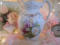 huge pink roses antique pitcher, charming victorian floral design, swags, ribbons, romantic farmhouse, prairie chic, england, wash basin jug by polka dot rose