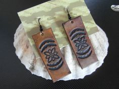 Floral Leather Earrings / Leather Jewellery / by TheSpareGround