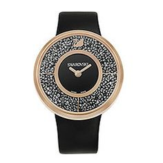 Crystalline Black Rose Gold Tone Watch Fashionable and glamorous, this watch dazzles with its stunning crystal appeal and the on-trend color rose gold. Specifications: case – rose gold PVD coated stainless steel filled with approximately 800 Jet Hematite crystals, 40mm; dial - black sunray; strap - black calfskin leather with rose gold PVD coated buckle in stainless steel; movement - Swiss quartz.