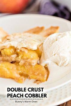 Double Crust Peach Cobbler has an all butter crust made in the food processor and a homemade peach filling that takes this cobbler to over the top DELICIOUS!