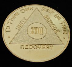 Vintage 24K Gold Plated Alcoholics Anonymous 18 Year Medallion Coin Token Chip | eBay