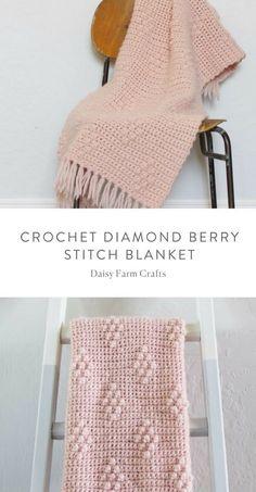 Crochet For Beginners Free Pattern - Crochet Diamond Berry Stitch Blanket Crochet Afghans, Afghan Crochet Patterns, Crochet Stitches, Blanket Crochet, Crochet Bedspread Pattern, Crochet Home, Cute Crochet, Crochet Baby, Knit Crochet