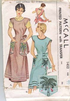 McCall 1452 circa 1949 apron with palm tree embroidery
