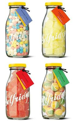 I've just seen the perfect jars to make these with for a fraction of the cost to make fun little presents (sorry Selfridges - love you but your mark up is Candy Packaging, Food Packaging, Packaging Design, Bottle Packaging, Chocolate Packaging, Coffee Packaging, Label Design, Starbucks Bottles, Sweet Jars