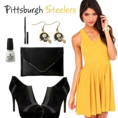 70063ef34 Date night with a Pittsburgh Steelers Fan  Doll up in a sexy look with a  dress
