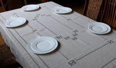 Set of linen embroidered tablecloth & 6 napkins, Hardanger table cloth, OOAK handmade table cover, cottage chic tablecloth, dining table Handmade Table, Linen Tablecloth, Lace Embroidery, Silk Thread, Table Covers, Cottage Chic, Natural Linen, Delicate, Fancy
