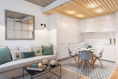 Fall in love with this small but charming flat, flat in barcelona. Open Plan Living, Small Living, Small Rooms, Small Apartments, Small Space Design, T Home, Modern Kitchen Design, Home Staging, Home Furniture