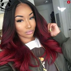 Pink-Red with Yellow Highlights - 20 Cool Styles with Bright Red Hair Color (Updated for - The Trending Hairstyle Hair Color Auburn, Hair Color For Black Hair, Pink Hair, Black Girl Red Hair, Black Hair Ombre, Burgundy Hair Ombre, Burgundy Weave, Curly Hair Styles, Natural Hair Styles