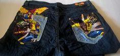Miskeen Men's Dark Blue Jeans Size 44 Embroidered Comic Graphics Hip Hop Baggy #Miskeen #BaggyLoose