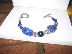 Cowgirl Chunky Royal Blue Gray & Silver with Toggle by cthorses66, $7.99