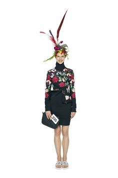 Here's look 235 - An elegant dinner-to-theatre ensemble feauturing embroidered flowers on the jacket and a comfortable little-black-classic-cut dress . You can´t go wrong with this outfit! Be inspired by Desigual selection.