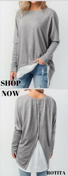 Vintage Gray  Mint Green Minimalist Short Sleeve Top  Business Casual Shirt  Simple Office Wear  Boxy Basics