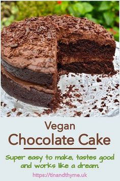 Vegan Chocolate Cake. Super easy to make vegan chocolate cake. It tastes good and works like a dream. Keep it plain or stack it up with a delicious vegan chocolate icing for birthdays or other celebrations. #TinandThyme #VeganChocolateCake #VeganCake #CelebrationCake #ChocolateCake