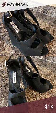 Steve Madden Black Wedges Size 8 Steve Madden Shoes Wedges