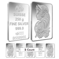 Lot of 5 - 250 gram Silver Bar PAMP Suisse Lady Fortuna .999 Fine (W/ Assay)