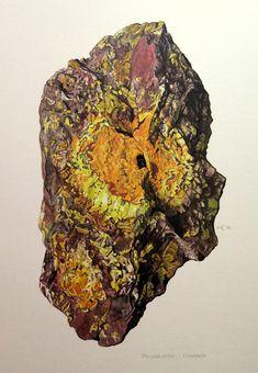 1967 antique strahlt MINERAL-Druck, Jahrgang URANINIT Farbe Lithographie, oxid Pechblende Kristall Bergkristall Geologie Mineralogie.