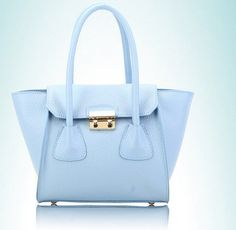 blue  candy color bat genuine leather shopping bags by starbag, $69.50