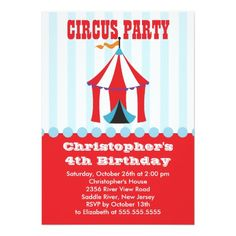 Circus Birthday Party Invitations  Dajon Design Circus