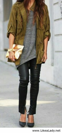 Military inspired green jacket + black leather skinnies + grey maxi tee + black pumps