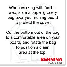 This great tip can save your ironing board cover! #SewingTip #BERNINAtip