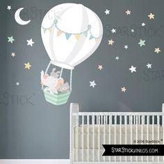Vinilo bebé - Animales volando en globo. Luna blanca