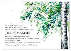 Birch Tree Wedding Invitation on plantable paper ~ September Birch Tree by ForeverFiances Weddings