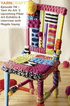 "Such beautiful fiber art! ""My latest podcast showcases fiber art around the world, from the Lions of the Cultural Olympiad to ""Craft Spoken Here"" in Philadelphia. Plus an interview with Magda Sayeg, prolific yarn bomber and artist. Crochet Home Decor, Crochet Art, Love Crochet, Yarn Bombing, Wool Shop, Chair Covers, Toddler Crafts, Yarn Crafts, Cool Furniture"
