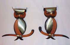 Pr Vintage Mid Century Wood Metal Owl Wall Art Hanging SImilar to Masketeers