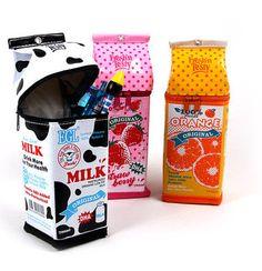 A milk carton pencil case containter pouch penbox bags Pencil Bags, Pencil Pouch, Pencil Sharpener, Office Deco, Cool Stationary, Cute Pencil Case, School Suplies, Diy Cadeau, Milk Box