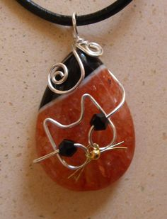Unique Silver Wire Cat on Orange and Black Agate by jillmh123, $12.50