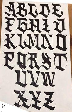 Graffiti Letters Styles, Graffiti Lettering Alphabet, Chicano Lettering, Graffiti Writing, Alphabet Fonts, Card Tattoo Designs, Tattoo Lettering Design, Tattoo Fonts Cursive, Lettering Guide