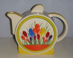 Clarice Cliff Crocus Teapot.  I have a set in miniature, by Janice Crawley