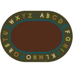 "Carpets for Kids Circletime Brown / Green Alphabet Nature Area Rug Rug Size: Oval 8'3"" x 11'8"""