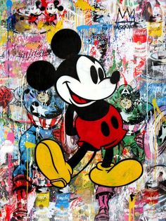 From Bivins Gallery, Mr. Brainwash, Mickey Stencil and mixed media on paper, 64 × 48 × 2 in Arte Do Mickey Mouse, Mickey Mouse Tattoos, Mickey Mouse And Friends, Disney Mickey Mouse, Mickey Mouse Wallpaper Iphone, Cute Disney Wallpaper, Cartoon Wallpaper, Disney Artwork, Disney Drawings