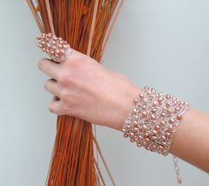 Pearl Cuff Bracelet  Wire Crochet Cuff Bracelet Wire Mesh Baige pearls cuff Bracelet Wire Knit Jewelry Handmade by Lavish Gemstone on Etsy