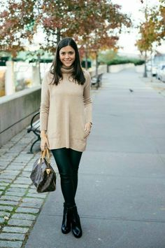 Thanksgiving Day Wear - cozy sweater and faux leather leggings