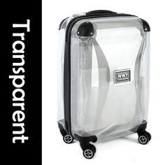 "Guaranteed100%+20"" Travel Transparent Plastic Suitcase Trolley Case Hard Shell Luggage Bag+Tsa Lock+Rolling Wheel on AliExpress.com. $129.00"