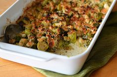 TESTED & PERFECTED RECIPE - Creamy roasted Brussels sprouts with a crispy, cheesy topping.