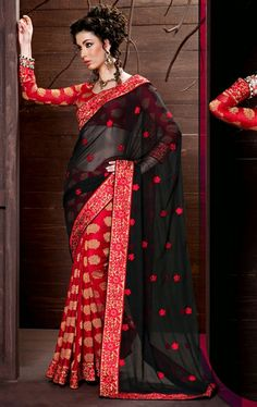 Picture of Beauteous Black and Red Designer Party Wear Saree