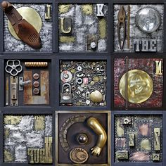 Enneaptych one is an polyptych made from nine independent works put together in a Dadaist way MMXX Assemblage Art, Contemporary Artists, Letterpress, Collage, Brass, Dance, Photo And Video, Abstract, Wood